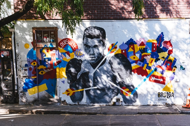 A street art graffiti of Muhammad Ali.