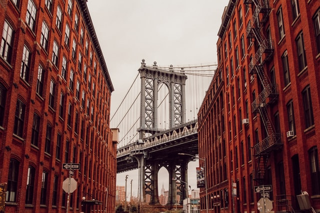 A view of the Manhattan Bridge from Dumbo, one of the best parts of Brooklyn for young couples.